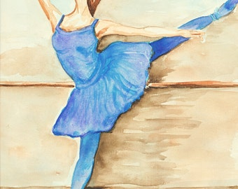 ballerina dancer wall decor ballet dancer dance art artwork painting watercolor drawing modern art dance fine art poster