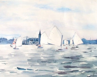 Sailing boats in the harbour of Monnickendam, large watercolour