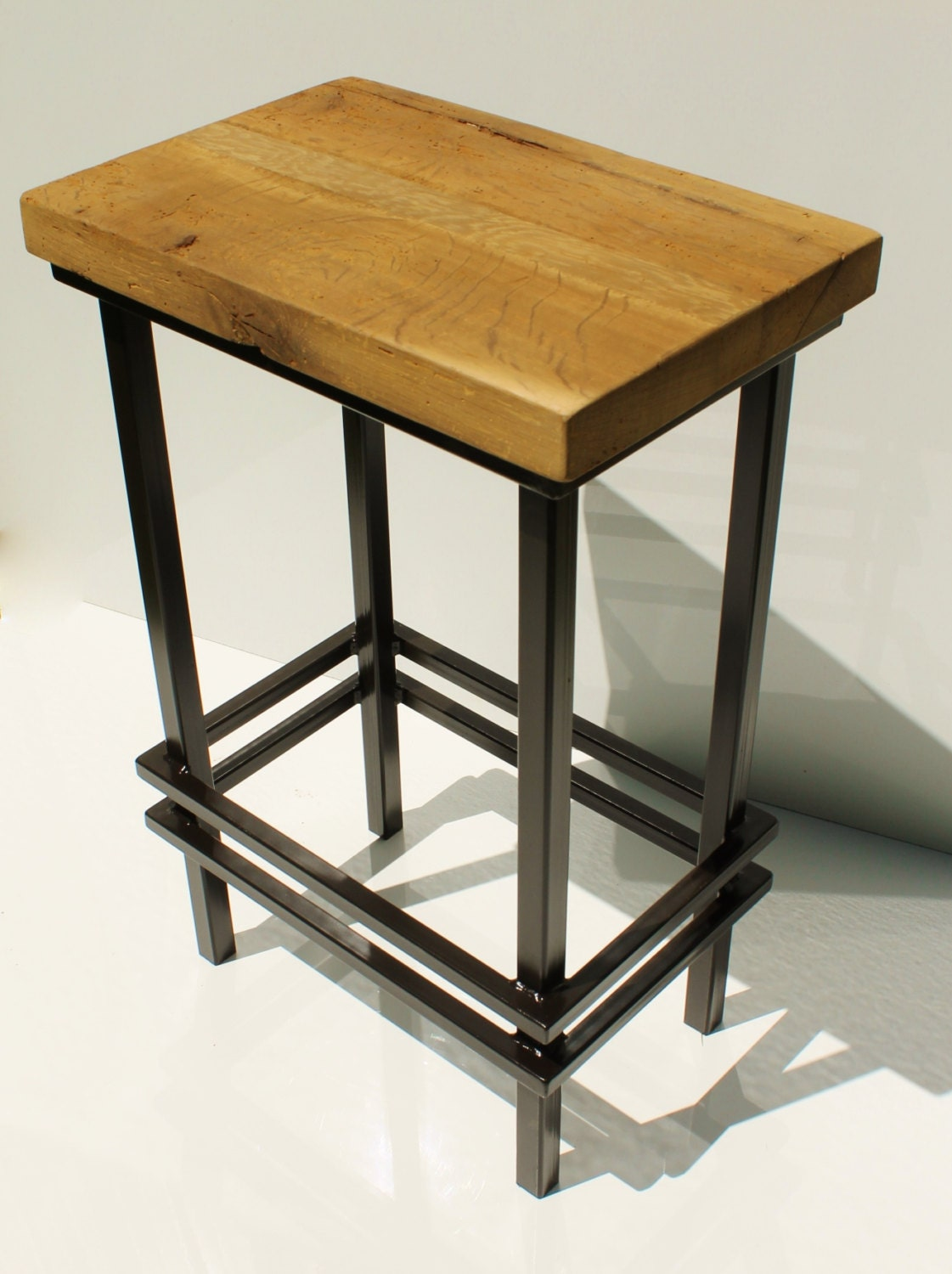 Bar Stool Metal W Rustic Reclaimed Barn Wood Top 24