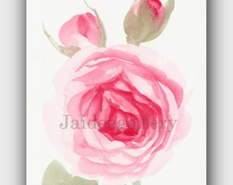 Rose painting, WATERCOLOR FLOWER painting, Floral painting, Original art painting on paper 4x6 in,