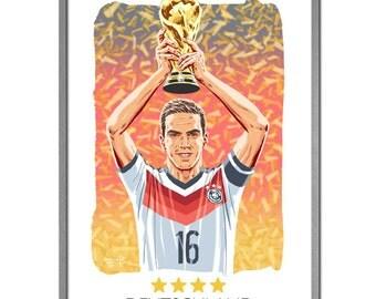 Deutschland World Cup Winners 2014 Philipp Lahm Art Print