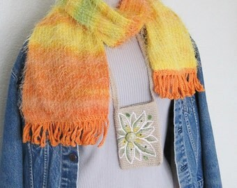 Eyelash fabric scarf crochet fringe,Alaska Northern Lights,auroras,yellow orange green ombre,Alaskan mom sister wife gift,stripe neck warmer