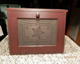 Large Punched tin Bread Box