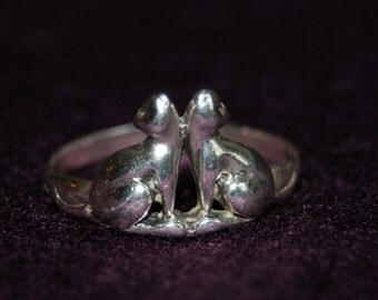 Bast Mirror Image Vintage Sterling Silver Double Kitty Cat Bastet Profile Pierced Band Ring Sterling 925 #BKC-KRNG60