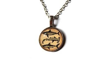 Sharks pendant Nautical necklace Marine jewelry NW58