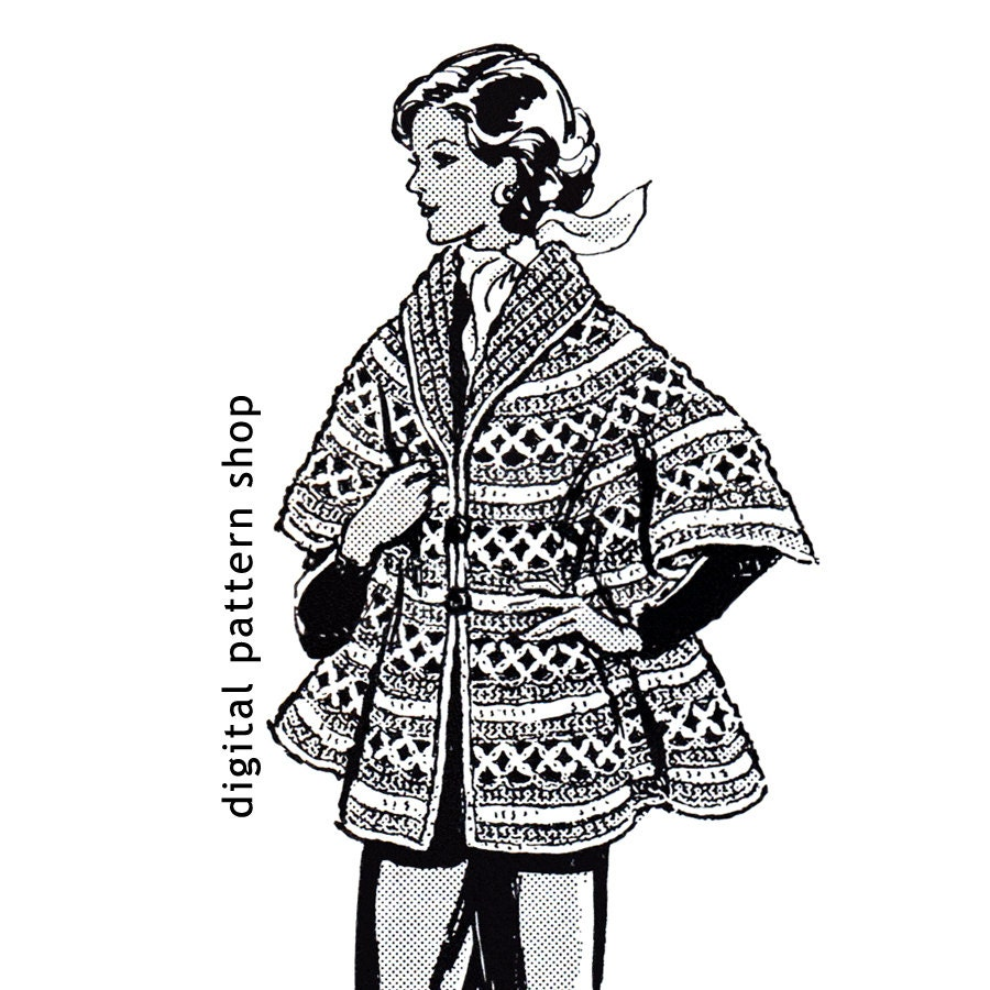 Crochet Cape Pattern 1970s Vintage Womens Cape Crochet Pattern