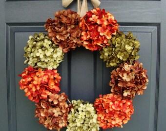 Hydrangea Wreath | Door Wreath | Outdoor Wreaths | Front Door Wreaths | Year Round Wreath | Wreath | Housewarming Gift