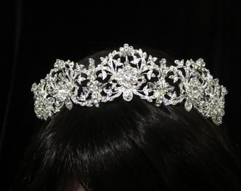 Dramatic Bridal headpiece, Wedding tiara, Bridal tiara, Rhinestone Bridal headband, Vintage inspired headpiece, Vintage style tiara