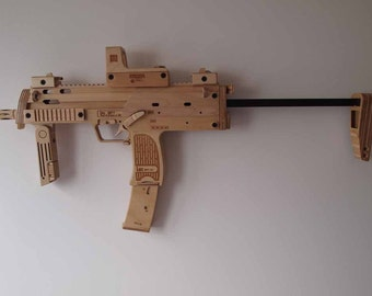 Wooden Heckler & Koch mp7 made out of a tree.