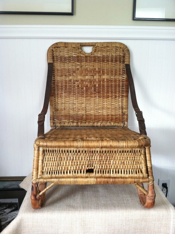 Canoe Seat Vintage Wicker Portable Folds Up Storage Leather