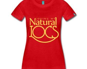 Loving My Natural Locs Dreadlocks Natural Hair Fitted T-Shirt - Red
