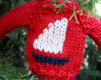 Knitting PATTERN / Mini Sailboat Sweater / Christmas Ornament / PDF instant download / Quick Knit / Holiday Decor / Decoration