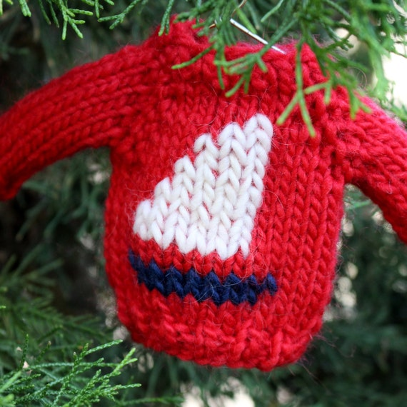 Knit Pattern Sweater Ornament : Knitting PATTERN / Mini Sailboat Sweater / Christmas Ornament