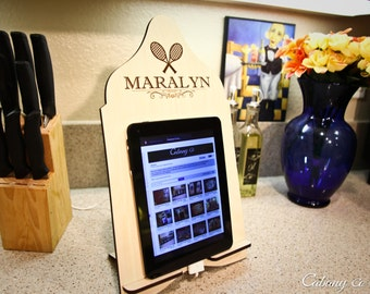 Personalized Tablet Stand Wood iPad Stand Docking Stand Engraved w/any Sporting Monogram and Name Tablet Kindle Nook & iPad Stand
