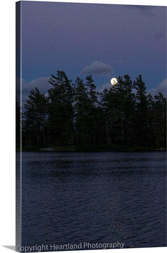 Dark Canvas Art, Boundary Waters, Night Photography, Moon Rise, BWCA Landscape, Minnesota Art, Lake Photo Canvas, Ready to Hang, Calm Lake