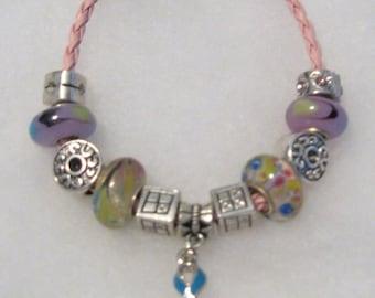 194 - CLEARANCE - Teal Pink Blue Cancer Awareness Bracelet