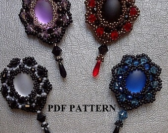 Embedded cabochons .pdf pattern to create pendants or earrings. Mirrors mirrors beadwork tutorial.