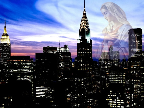 Mary Visits Midtown At Sunset-Religious Home Decor Spiritually and Religion Spiritual Art Spiritual Decor Home and Living Home Decor