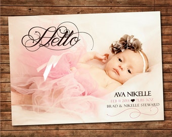 """Printable Baby Announcement: Baby Photo Card """"Hello"""""""