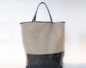 woman bag shopper canvas bag printed jute and black leather large bag