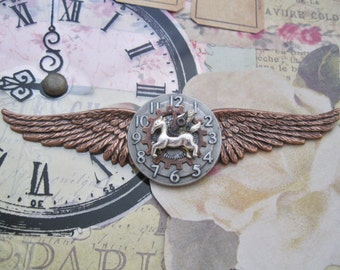 "Steampunk ""Clockwork Pegasus"" Aether Pilot Wings Pin"