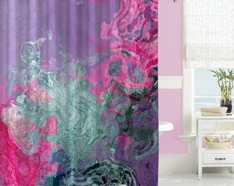 Abstract Shower Curtain Contemporary Bathroom Decor Pink Purple And Aqua S