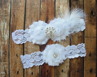 White Bridal Garter Set, Wedding Garter, Toss Garter, Feather Garter, Lace Garter, Crystal Garter, White Lace