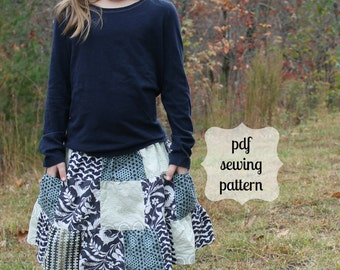 Pocketful of Posies Patchwork Skirt~ instant download PDF sewing pattern