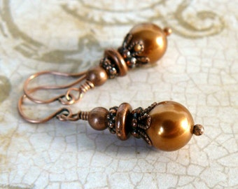 Copper Pearl Earrings, Vintage Inspired Dark Gold Dangles, Copper Swarovski Elements Crystal Pearls, Romantic Jewelry, Gift for Her