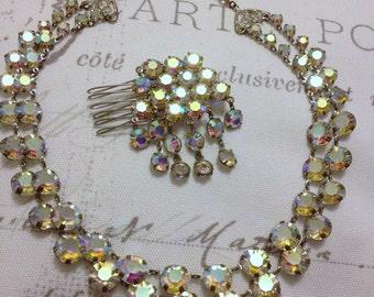 OOAK - Bridal Set Of Jewellery - Authentic Vintage Aurora Borealis Crystals - Necklace - Haircomb - Wedding