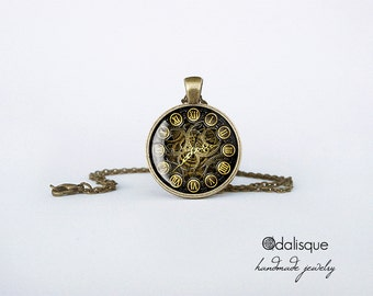 Vintage Steampunk Clock Pendant Necklace Bronze Glass Pendant Jewelry Handmade Gift