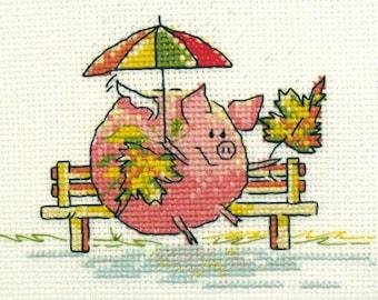 PIGasus (Autumn) Веселая серия дизайнов про свинку. Прекрасная картина, элемент декора или открытка. Идеально подходит для подарка!
