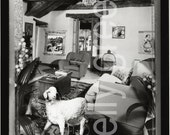 Black and White Photograph, Diorama, Living Room scene with sheep