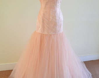 Custom-made 'Sadie' wedding gown sweetheart evening or prom dress mermaid tulle trumpet hourglass figure blush