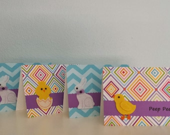 Handmade Easter Cards Tent Cards Bunnies Chicks Chevron