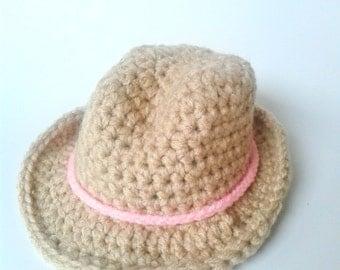 Newborn Cowgirl Hat, Crochet Cowgirl hat, Baby Cowgirl Hat, Baby Cowboy Hat, Cowgirl Photo Prop, Newborn Photo Prop, Baby Cowgirl Costume