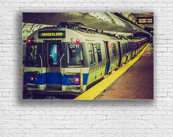 Boston Subway Giclee Print | New England Aquarium Station | Wonderland Train | Boston, MA