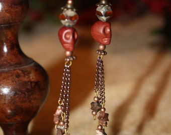 Brown Skull Mageasite and Jasper Stars Dangle Halloween Earrings