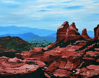 Landscape Oil Painting Sedona Arizona Red Rock Mountains, Original Art - 18 x 24, Palette Knife, Oil on Canvas and Ready to Hang