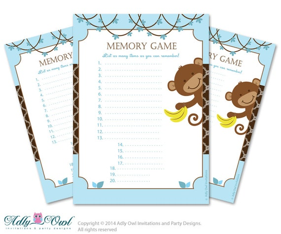 memory game for baby shower printable card for baby monkey shower
