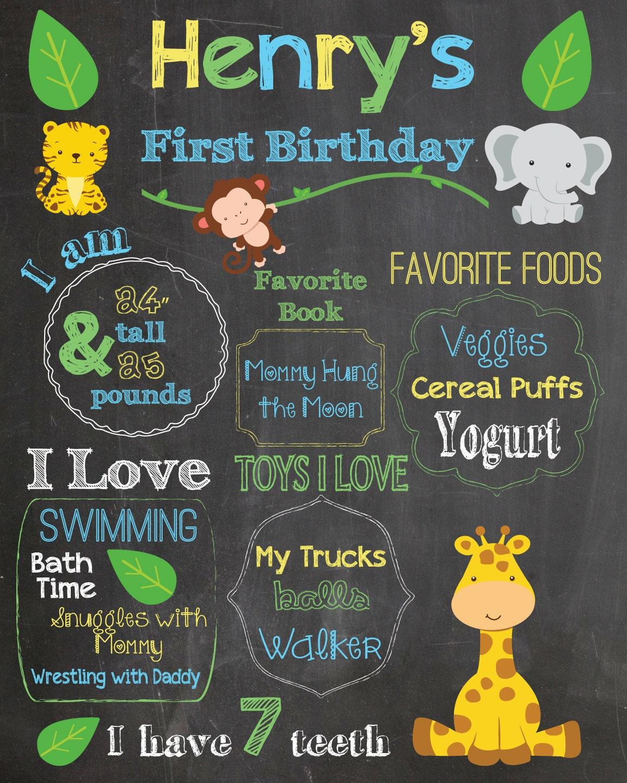 First birthday chalkboard printable baby jungle animals poster for First birthday chalkboard printable