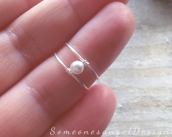 Pearl Ring, Bridal Ring, Thin Ring, Bridesmaids, Sterling Silver Ring, Midi Ring, Thin Ring, Fashion, Gift for her, Statement, Knuckle Ring
