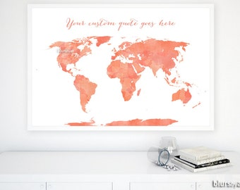 Custom Quote Printable World Map With Us States And Canadian Provinces Shades Of Coral