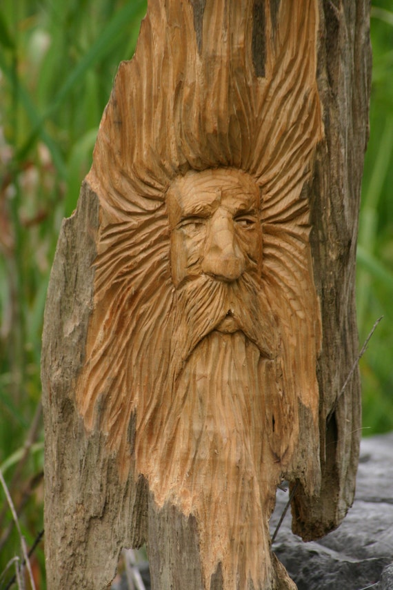 Wood spirit carving sculpture unique garden art