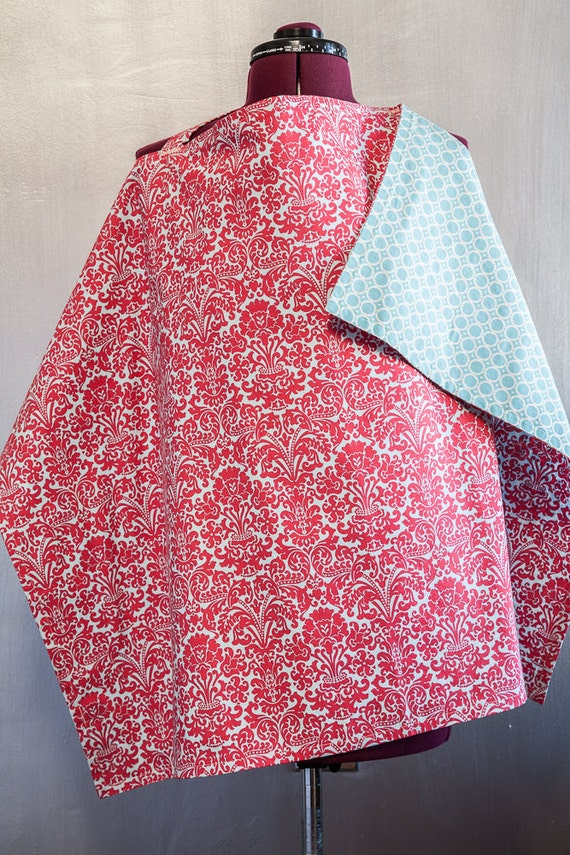 Reversible Nursing Cover - Red Damask on Light Blue/Graphic Circles in Cream and Light Blue