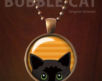 Halloween Black Cat Necklace, Black Peeking Cat Pendant, Halloween Necklace