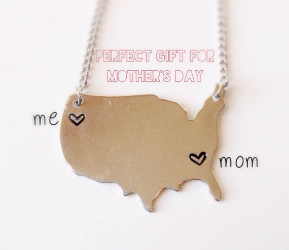 Mother's Day Jewelry United States Necklace with Heart USA US