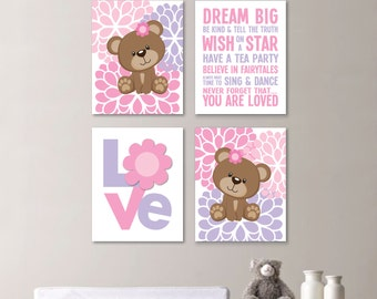 Baby Girl Nursery Art - Baby Bear Nursery - Teddy Bear Bedroom - Baby Bear Decor - Teddy Bear Art - Bear Print - Flower Art - Canvas. NS-649
