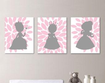 Baby Girl Nursery Art - Princess Bedroom - Girl Nursery Print - Princess Nursery Art - Princess Art - Princess Print - Pink Gray (NS-659)