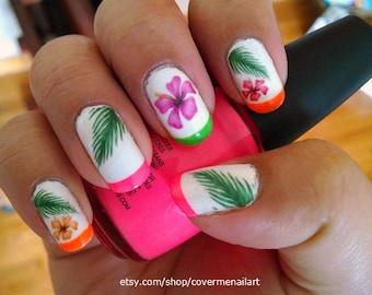 Hawaiian Flowers - Water Slide Nail Decals